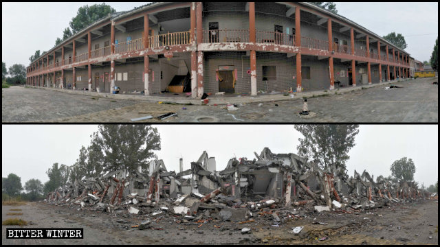 The Lianhuayuan Temple's residential house was also destroyed.
