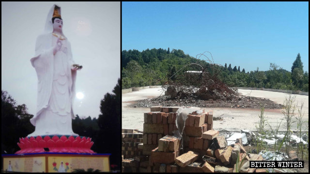 The demolished Guanyin statue outside the Jade Emperor Temple.