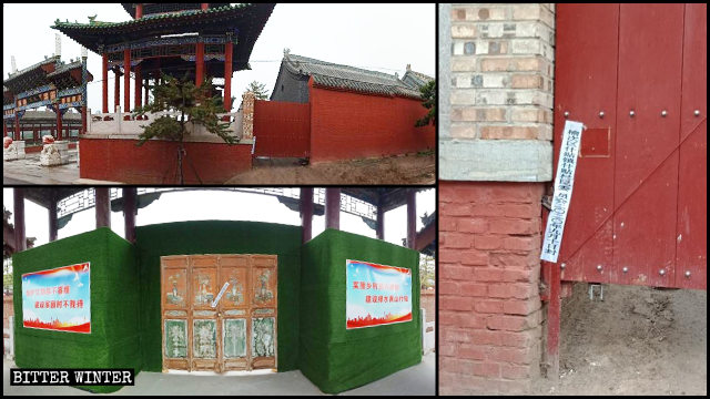 The main and side entrances to the Thousand Buddha Temple were sealed off.