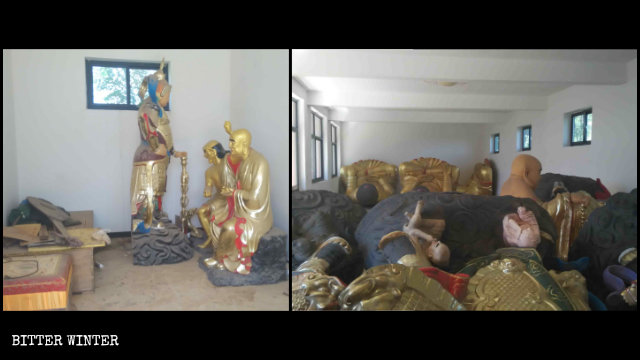 The statues removed from the temple were piled in a heap.