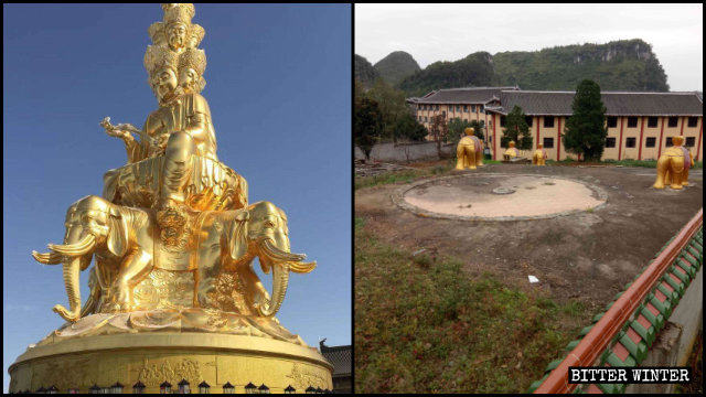 Outdoor Buddhist Statues Destroyed in Temples and Scenic Areas