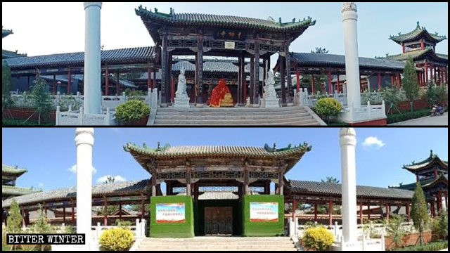 Three statues at the Thousand Buddha Temple entrance were removed in August.