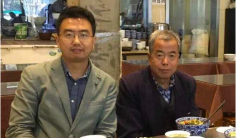 Chinese human rights lawyer Chang Weiping(Left) and his father(Rights)