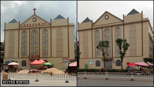 A Three-Self church in Bai village in Ruijin's Huangbai township lost its cross in December last year.
