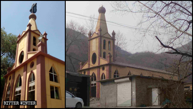 An unregistered Catholic church in Shijiazhuang's Pingshan county was turned into an activity center after its crosses had been removed.