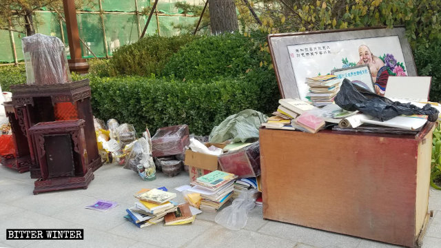 Buddhist books confiscated by government officials from a temple in Langfang city in the northern province of Hebei.