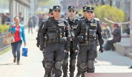 """Special police forces are often employed to """"maintain stability"""" all over Xinjiang."""