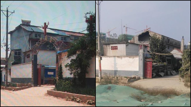 The Xifurong Three-Self Church in Linyi's Yinan county lost its cross in May.