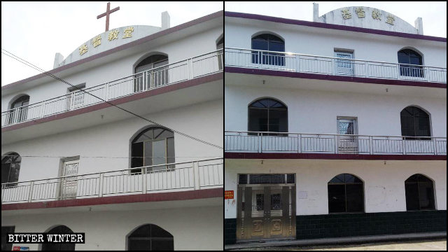 The cross of a Three-Self church in Yichun city was removed in June.