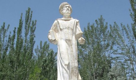 The statue of Mahmud Kashgary on the grounds of the shrine dedicated to him outside of Opal township, in the XUAR's Kashgar prefecture, in an undated photo