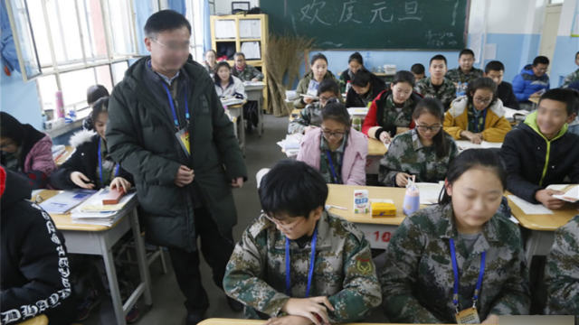Uyghur students study at a school in Xinjiang
