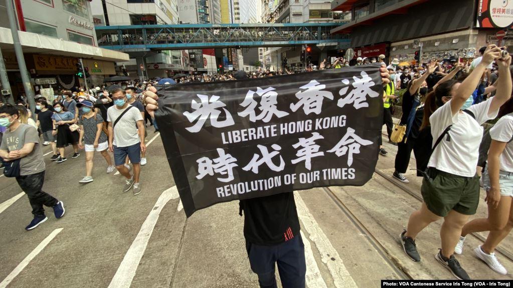 Hong Kong protests march in Hong Kong on July 1, 2019